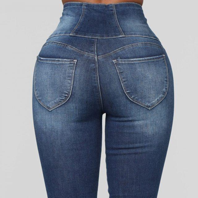 SAGACE Fashion classic ladies solid color button high waist slim stretch feet denim pants ladies casual pencil pants hot