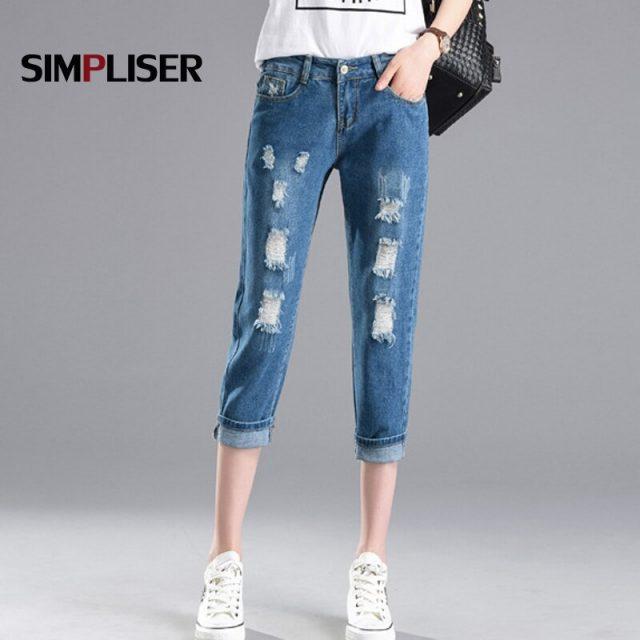Jeans Women Calf Length Capri Ripped Jeans Trousers Plus Size 32 Female Mid Waist Destroyed Boyfriend Harem Trousers Holes