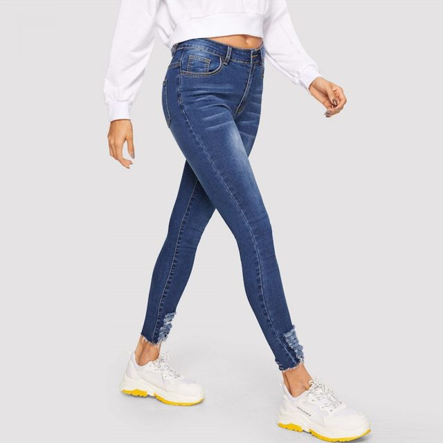 SAGACE Fashion Explosion Women's Solid Color Pocket Washed Jeans High Waist Splicing Wear Breaking Casual Pants Fall Winter