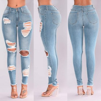 Pickyourlook Skinny High Waist Ripped Jeans Slim Female Jeans Pants For Women Fashion Pencil Trouser Streetwear Denim Charm Pant
