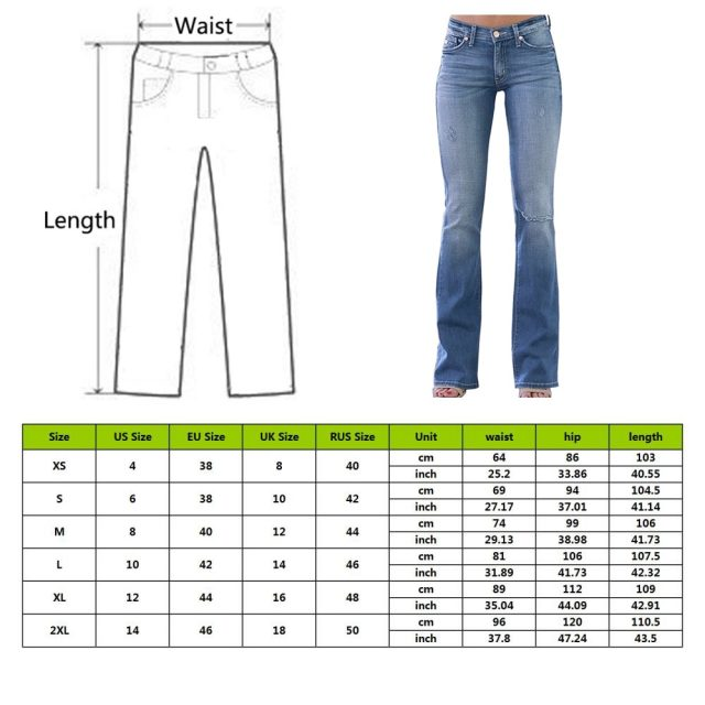 OEAK 2019 New Arrival Womens Slim Jeans Pant Fashion Show Thin Casual Ripped Jeans Female Flared Trousers Long Pants