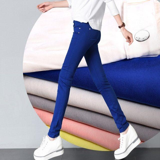Womens 20 colored skinny jeans plus size street fashion Sexy low rise waist denim trousers women ladies blue pencil jeans pants