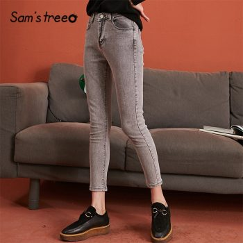 SAM'S TREE Smoky Gray Solid Minimalist Style Washed Jeans Women 2019 Winter New Fashion Pure Skinny Office Ladies Daily Trousers