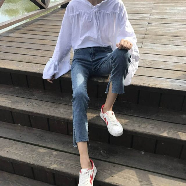 New Micro-flare High Quality Pencil Pants Korean Version of the Straight Pants Womens Simple Daily Skinny Soft Students Trousers