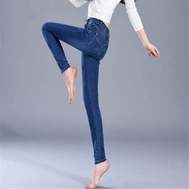 Slim Jeans Women Skinny High waist Jeans Woman Blue Denim Plus Size Pencil Pants Fashion Stretch Full Length Lady Blue Pants