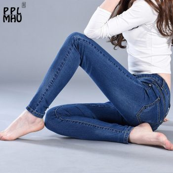 Slim Jeans Women Skinny High waist Jeans Woman Blue Denim Plus Size Pencil Pants Fashion Stretch Full Length Lady Blue Pants