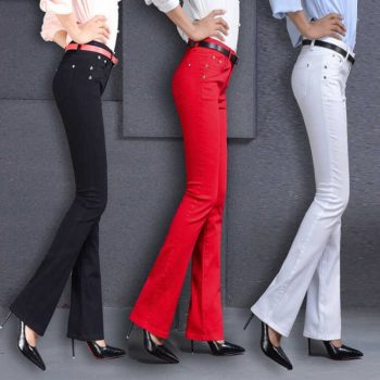Women's Casual Candy Micro-flared Pants 2020 New Arrival 95% Cotton Elastic Slim Skinny Pants Women's Stretch Pencil Trousers