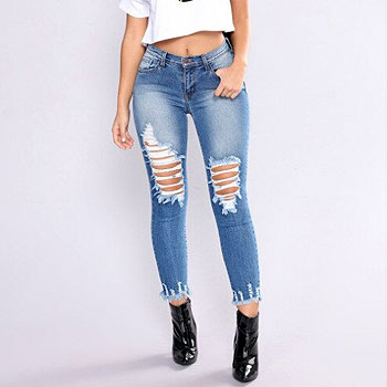 Newest  hole Arrivals Fashion Hot Women Lady Denim Skinny Pants High Waist Stretch Jeans Slim Pencil Jeans Women Casual Jeans