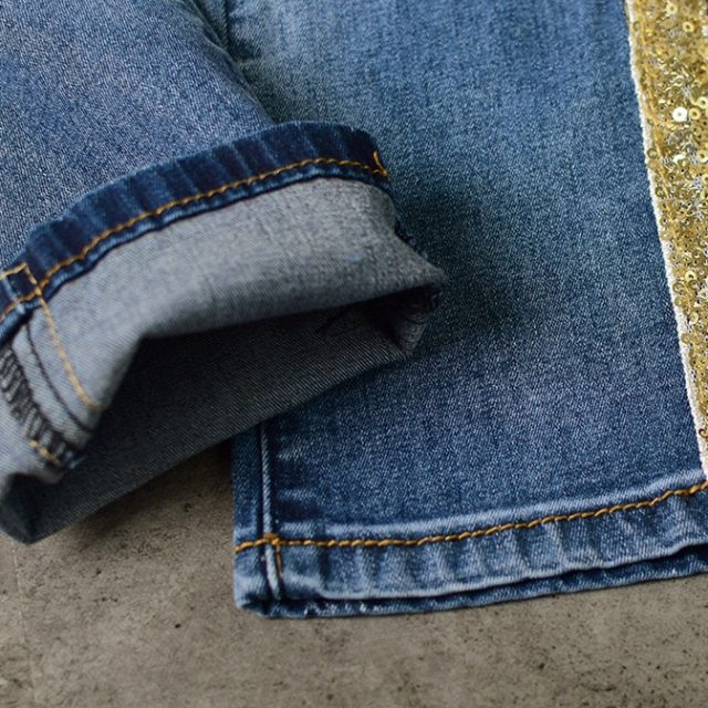 Low Waist Fashion Side Stripe Skinny Jeans Women Slim Embroidered Gold Sequin Vaqueros Mujer High Street Push Up Calca Denim