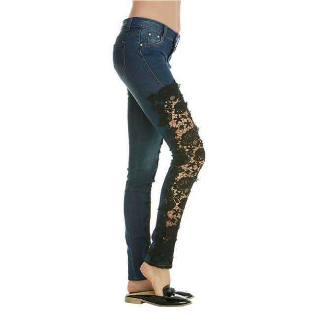 ZOGAA Women Casual Flower Lace Insert Jeans Ladies Hollow Out Long Pants Jeans Sexy Solid Women's Skinny Ripped Jeans Pants