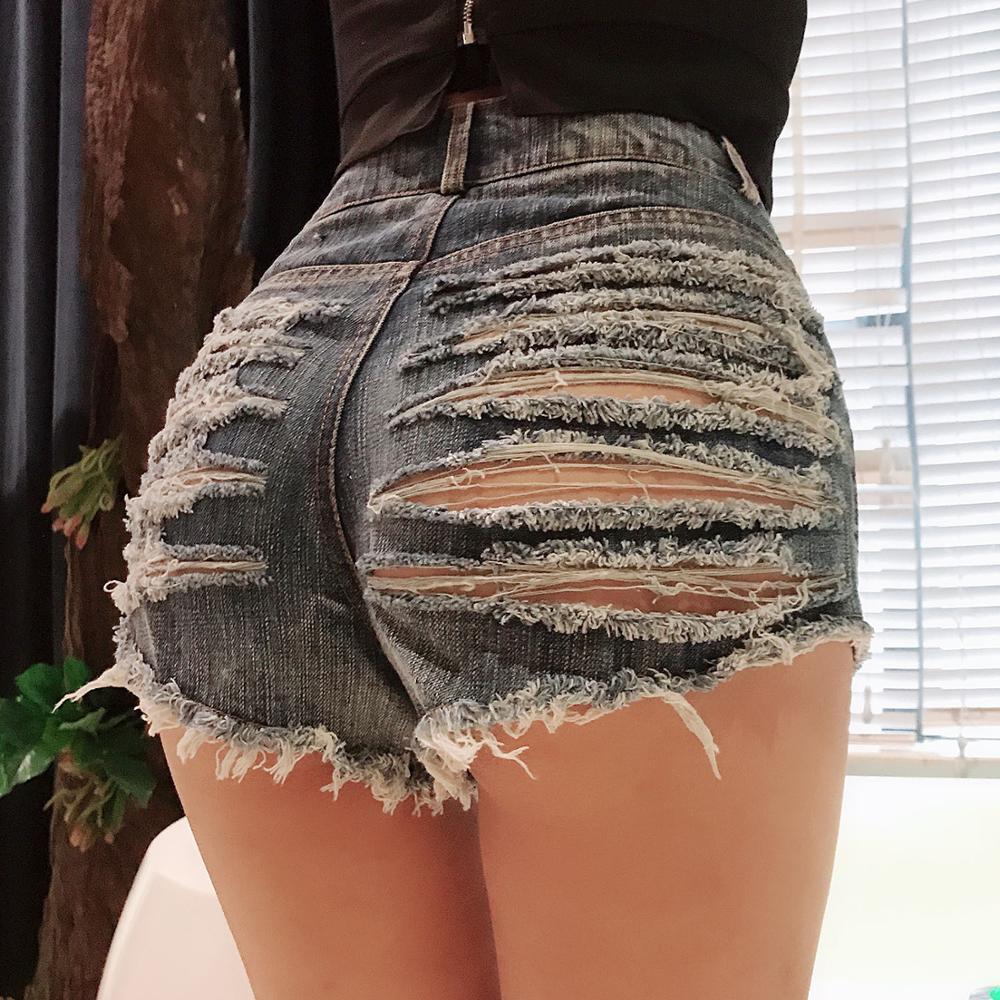 Sexy Club Short Jeans Women Ass Hole Jeans Denim Short For Women High Waisted  Ripped Short Jeans Butt Cut Out Summer Denim Pant
