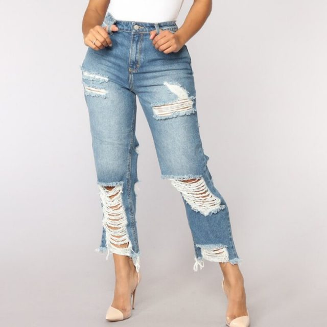 Sexy Back Hole Distressed Ripped Boyfriend Jeans For Women High Waisted Destroyed Jeans  Street Rock Cut Out Loose Straight Jean