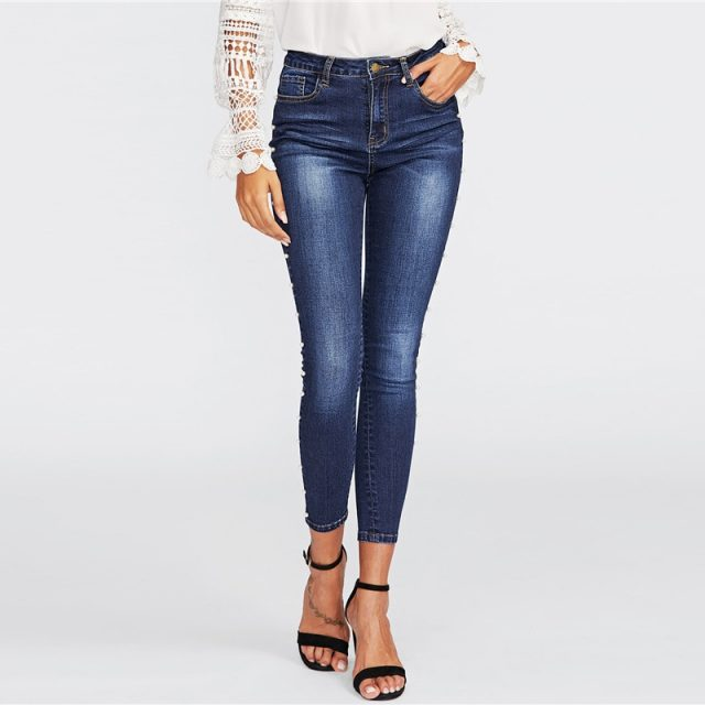 Fashion Plus Size Pearls Jeans Pants High Waist Skinny Jeans Blue Thin Pearl Embellished Jeans Push Up Denim Pencil Pant Beading