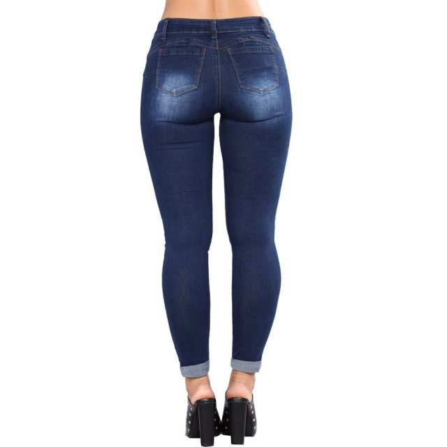 Vintage Shaping Skinny Jeans High Waisted Stretch Sexy Women Destroyed Ripped Distressed Slim Denim Jeans Junior Cuffed Jeans