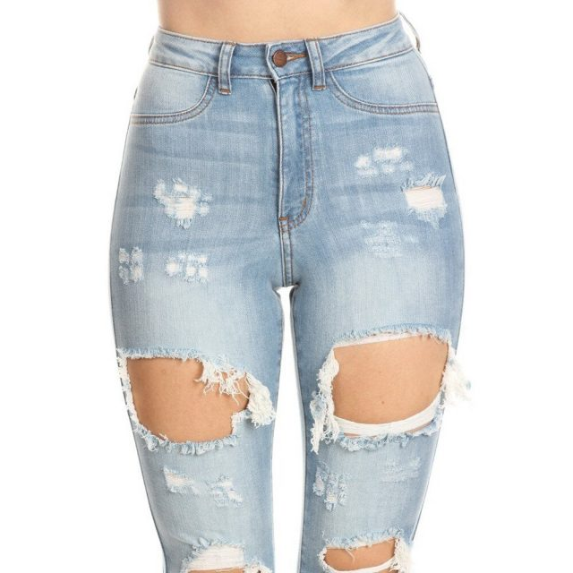 light blue Sexy Big Broken Hole Jeans For Women Destroyed Ripped Denim Jeans Skinny High waist Push Up Jeans Women Pants Pencil