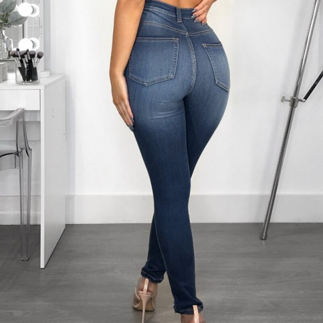 Casual Knee Ripped Jeans High Waisted Push Up Jeans Woman Hole Ripped Skinny Jeans Plus Size Denim Pants Pencil Trousers Female