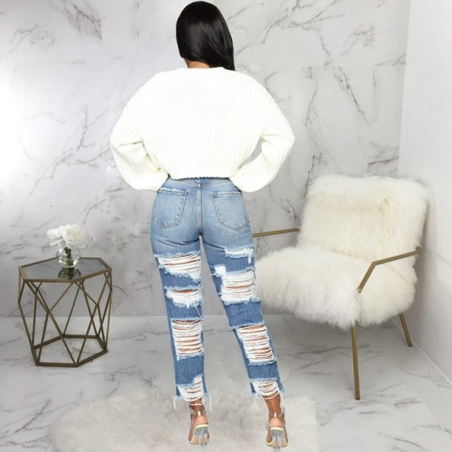 Women high waisted jeans Casual Pencil denim pants Sexy Hole Ripped calca jeans Stretch Push Up Skinny Trousers boyfriend jeans