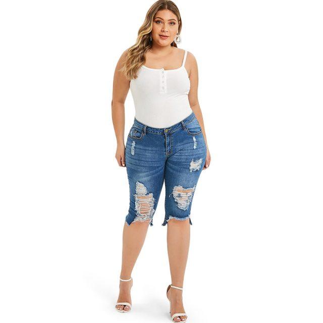 Rosegal Fashion Plus Size 5XL Midi Waist Boyfriend Capris Jeans Mom Women Straight Ripped Distressed Denim Cropped Pants