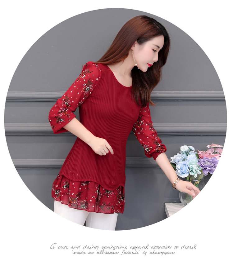 floral Women vintage Blouses 2019 Fashion autumn long Sleeve patchwork Long Shirt Female Casual tops camisas mujer