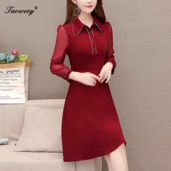 large plus size office ladies patchwork dresses elegant knee length long sleeve red dress ruffle a line dress women vestidos