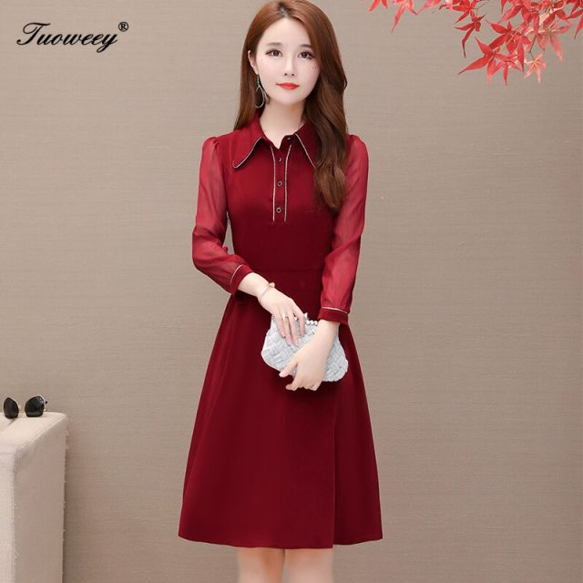 large plus size office ladies patchwork dresses elegant knee length long sleeve red dress ruffle a line dress women vestidos
