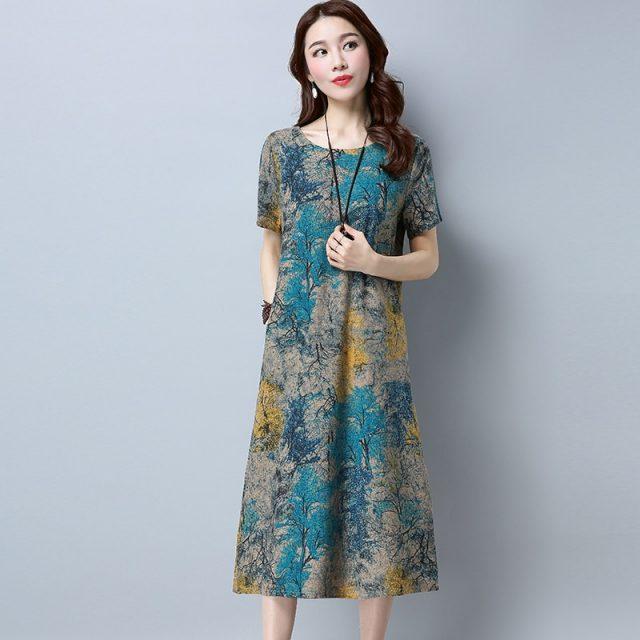 2018 dresses cotton a-line vintage floral print clothes plus size women casual long summer beach dress vestidos femininos