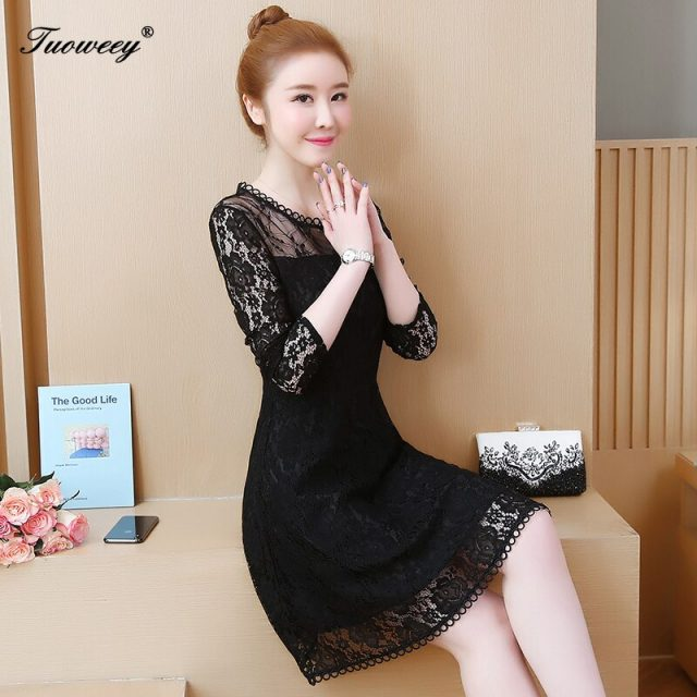 2020 Vintage Women Fashion black sexy Lace Runway Party Dresses Long Sleeve Hollow Out Leaf A-Line Knee-length Dress