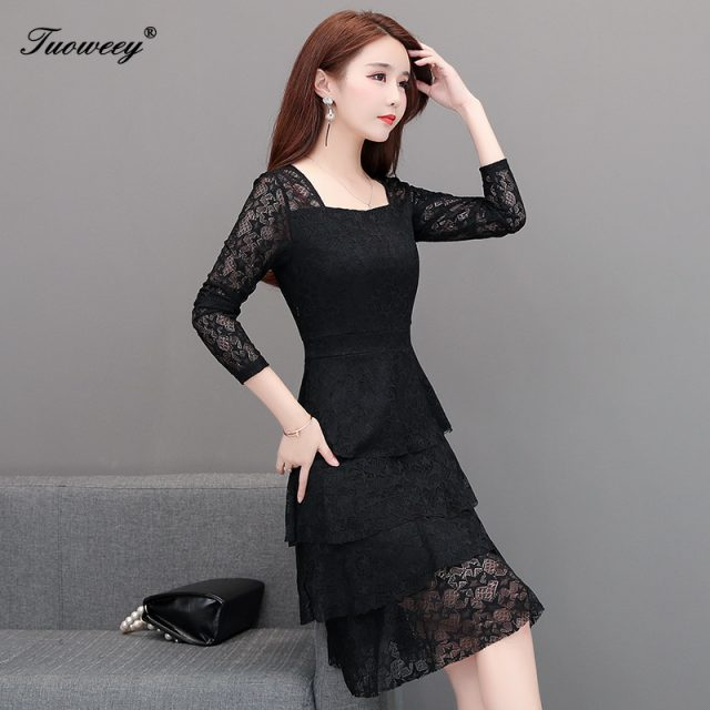 2019 Autumn spring pink lace ruffle Plus Size knee length Dresses Women Elegant Korean Dress Party long Sleeve Vestidos sexy