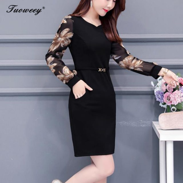 Plus size 5XL New Women Floral Print mid-age Slim spring long Sleeve Straight Mini Dress Sexy O-neck Female Casual work Dresses