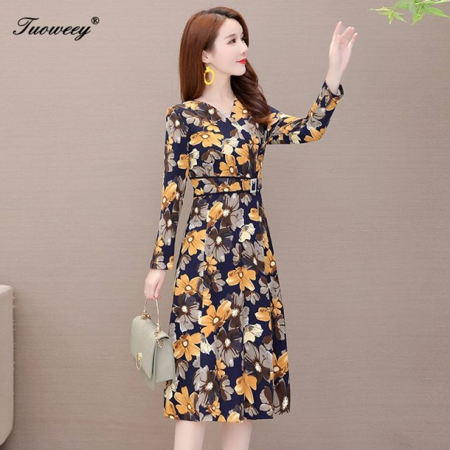 2019 Autumn Winter Plus Size floral v neck floral long Dresses Women Elegant Korean waist slim Dress Party Long Sleeve Vestidos