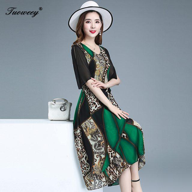 2019 summer style Plus Size 5XL leopard sexy Midi Dresses Women Elegant Korean waist slim Dress Party Long Sleeve Vestidos