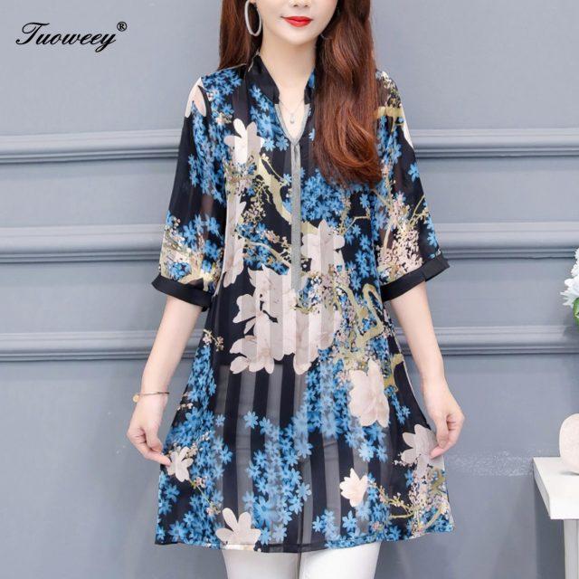 2019 Autumn summer floral loose long shirts Plus Size 4XL Women Elegant Korean shirt Dress Party half Sleeve blouses