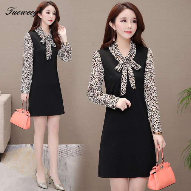 2019 Autumn spring leopard patchwork Plus Size 5XL mini sexy Dresses Women Elegant Korean Dress Party long Sleeve Vestidos