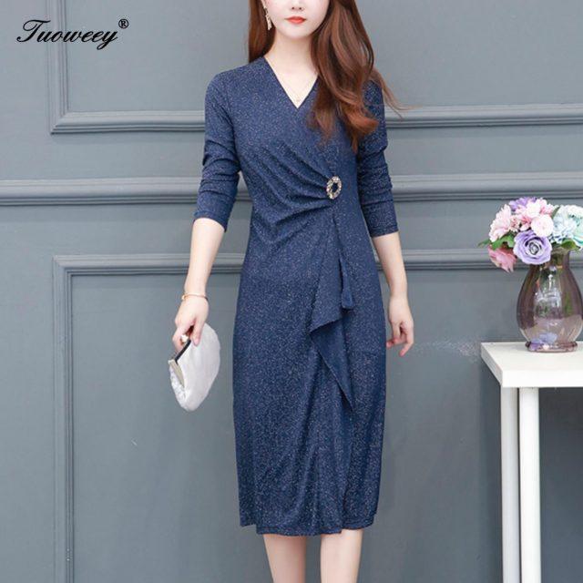 2019 Autumn spring solid color knee length Plus Size 5XL Dresses Women Elegant Korean elegant Dress Party long Sleeve Vestidos