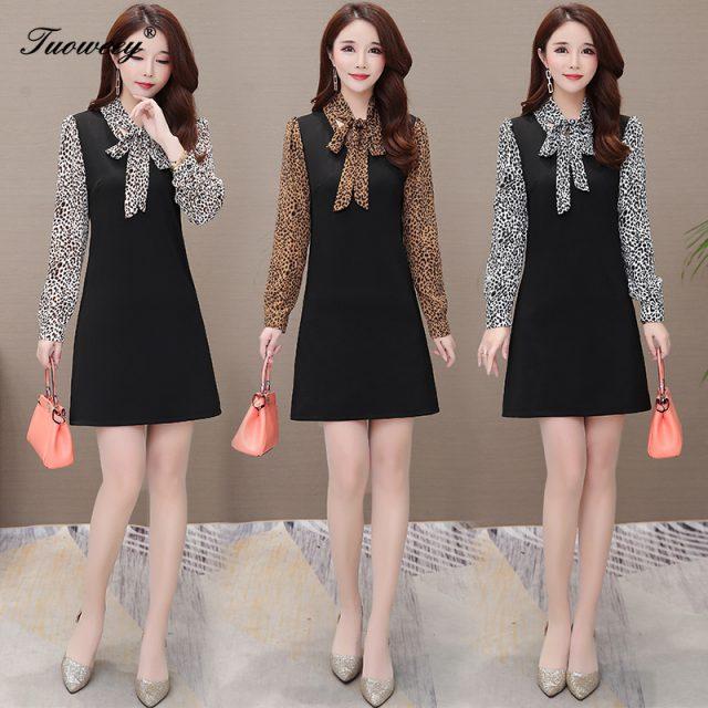 2019 Autumn spring style leopard patchwork Plus Size sexy mini Dresses Women Elegant Korean Dress Party long Sleeve Vestidos