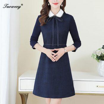 2019 Autumn spring elegant work OL 3XL Plus Size mini Dresses Women Elegant Korean tshirt Dress Party long Sleeve Vestidos