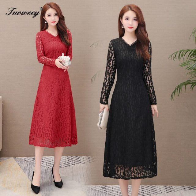 2019 Autumn Winter Plus Size Red v-neck lace long Dresses Women Elegant Korean sexy hollow out Dress Party Long Sleeve Vestidos