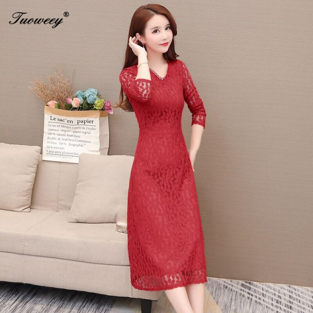 2019 Autumn Winter Plus Size Red v-neck lace long Dresses Women Elegant Korean sexy hollow out Dress Party Long Sleeve Vestidos