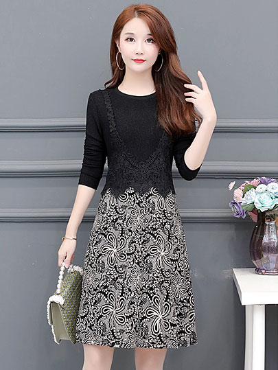 2019 Autumn spring style floral patchwork Plus Size mini Dresses Women Elegant Korean tshirt Dress lace long Sleeve Vestidos
