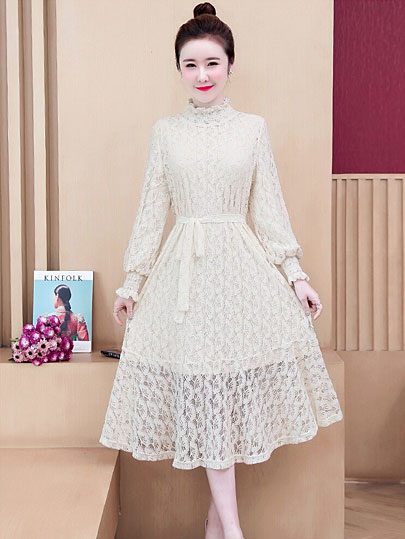 2020 New Autumn 5XL Women Solid Hollow Out Lace solid Tunic Split Pleated Elegant Casual Long Sleeve Stand apricot Dresses