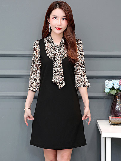 New Summer Style Women Dresses Plus Size Fashion loose bow collar Patchwork Leopard Chiffon Dress For Women Larger One-Piece 5XL