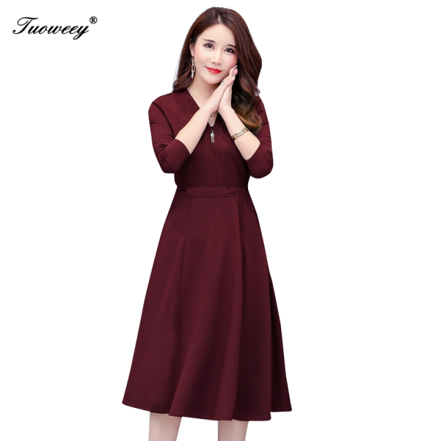 2019 Autumn Winter Plus Size v neck a line knee length Dresses Women Elegant Korean mid age Dress Party Long Sleeve Vestidos 4xl