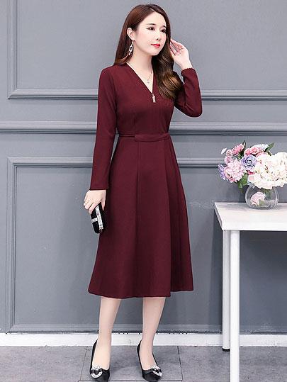 2019 Autumn Winter Plus Size v neck a line knee length Dresses Women Elegant Korean mid age Dress Party Long Sleeve Vestidos 4xl
