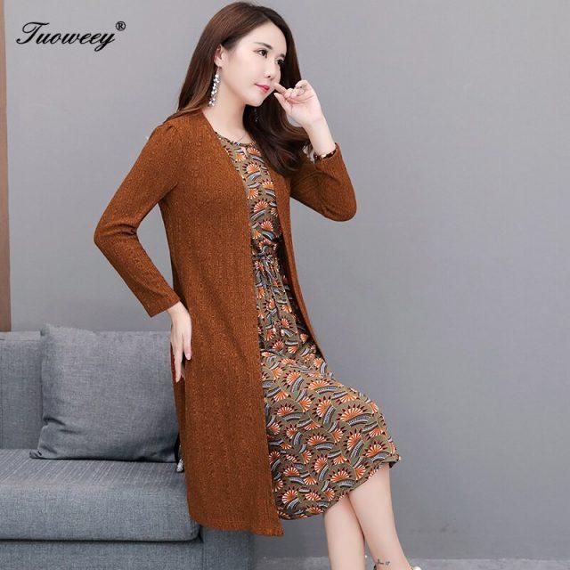 2019 Autumn Winter Plus Size Two-piece patchwork Dresses Women Elegant Korean o neck Dress floral Long Sleeve Vestidos dress