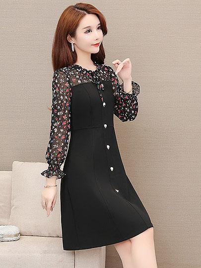 Plus Size Women patchwork Dress spring Middle Aged New 2020 long Sleeved Print Dress Fashion O Neck Loose L- 5XL Dress Vestidos