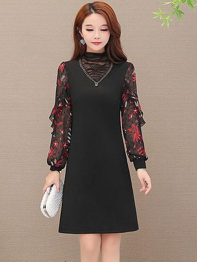 Autumn spring Plus Size plaid patchwork mini Dresses Women Elegant Korean loose ruffle Dress hollow out Long Sleeve Vestidos