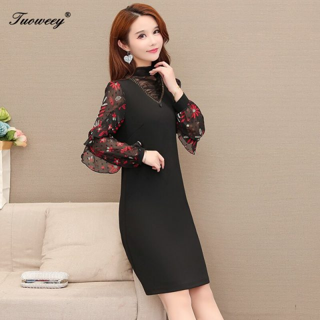 Autumn spring Plus Size plaid patchwork mini Dresses Women Elegant Korean loose ruffle Dress hollow out Long Sleeve Vestidos