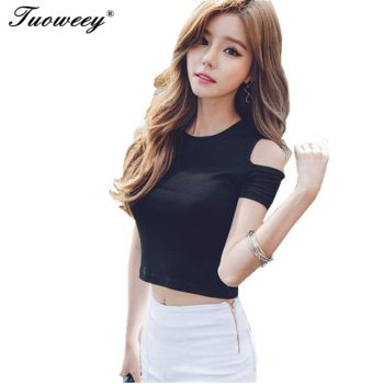 2017 summer shoulder off Solid Women Open Shoulder Tops Casual summer Shirts short Sleeve tees Strap Shirt Women white black