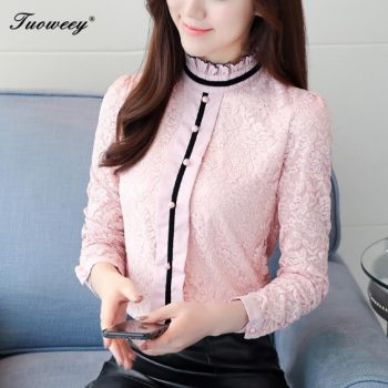 women spring casual pink lace sexy blouse 2018 fashion sexy long sleeve stand collar crochet tops elegant korean shirt clothes