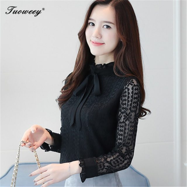 Lace sexy Blouse Stand Collar Shirt 2018 Spring Autumn style bow long Sleeve Tops Lace Ruffles Design Blusas Woman Slim Tops